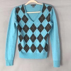 apt. 9 Cashmere V Neck Argyle Sweater